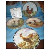 "4pc Set - 9"" Chicken Collector Plates"