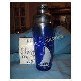 Blue Glass Large Bar Shaker