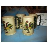 Poppytrail Pottery Hand Painted Rooster Mug Set