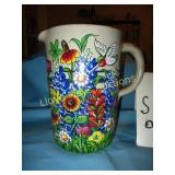 Hand Painted Stone Ware Water Pitcher