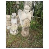 2pc Concrete Angel Garden Statues