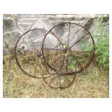 3pc Antique Cast Iron Implement Wheels