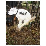 "Cast Metal ""NO!"" Curb Your Dog Garden Sign"