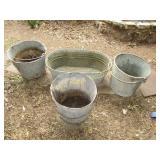 Vintage Galvanized Metal Buckets & Wash Tub