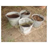 4pc Vintage Galvanized Steel Bucket Planters