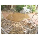 Metal Frame Glass Top Patio Table & 6 Chair Frames