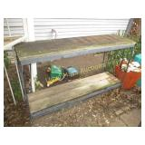 Wrought Iron & Wood 2 Shelf Plant Stand