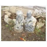 2pc Concrete Water Feature Garden Children Figures