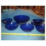 7pc - Vintage Blue Press Glass Salad Set