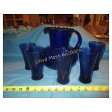 Blue Cobalt Vintage Art Glass Juice Set