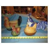 4pc Chickens! - Figural Planter / Chicken On Nest