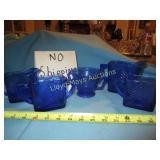 5pc Vintage Cobalt Blue Glass Sugar & Creamers