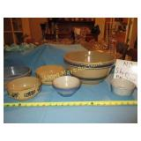 6pc Antique Stone Ware Mixing Bowls