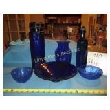 Cobalt Blue Glass Bowls / Canister / Vase - 6pc
