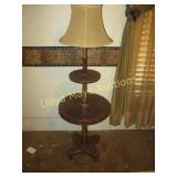 Wood Mid Century Tiered Lamp Side Table