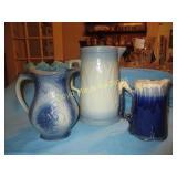 3pc Antique Blue Glazed Stone Ware Pitchers