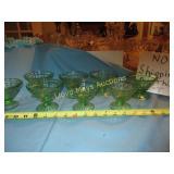Green Depression Glass 8pc Sherbet Set