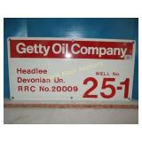 Getty Oil Co. Enamel Metal Well ID Sign - NOS