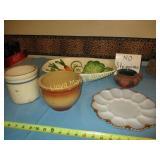 5pc Vintage Stone Ware / Glass / Ceramic Bowl