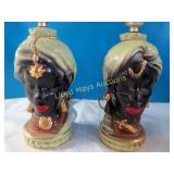 Mid Century Moorish Style Ceramic Lamp Pair