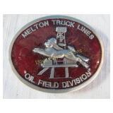 Melton Truck Lines Oil Field Pewter Belt Buckle