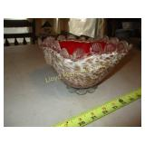 Mouth Blown Cased Art Glass Square Bowl
