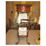 Wrought Iron & Wood Drum Accent Table