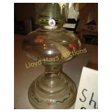 Vintage Hand Painted Glass Hurricane Oil Lamp