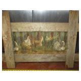Barn Wood & Chicken Wire Chicken Art