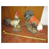 2pc Large Resin Composite Rooster Statues