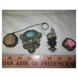 4pc Vintage Jewelry  & Powder Case