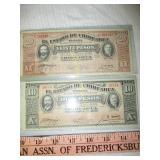 2pc Mexico 1914 Bank Notes - 10 Peso & 20 Peso