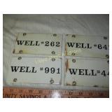 4pc Vintage Porcelain Metal Oil Well ID Tags