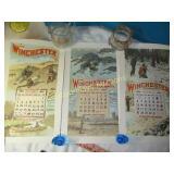 3pc Winchester 1966 Original Calendar Prints