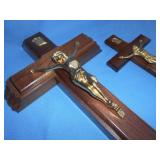 2pc Vintage Wood & Brass Wall Crucifix