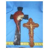 2pc Vintage Wall Crucifix