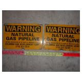 2pc Vintage Enamel Over Metal Gas Pipeline Signs