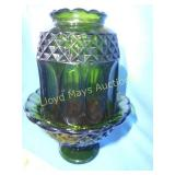 Vintage Green Glass Fairy Lamp