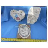 3pc New Decorative Pottery & Slate Wall Plaques
