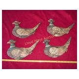 Set of 4 Vintage Japan Porcelain Pheasant Decor
