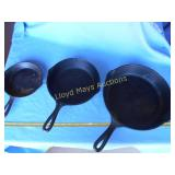 3pc Vintage Cast Iron Skillets - Wagner / SK