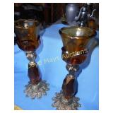 Pair of Vintage Heavy Amber Glass & Brass