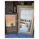 2pc Vintage Original Framed Art