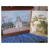 2pc Vintage Original Art - Spanish Missions