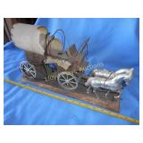Vintage Electric Metal & Wood Wagon Lamp
