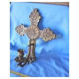 Heavy Solid Brass Cross Candle Wall Sconce