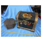 2pc Carved & Hand Painted Wood Keeper Boxes