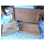 3pc Rustic Wood Serving Trays