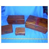 4pc Vintage Cedar Keeper / Trinket Boxes