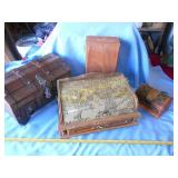 4pc Wood Trinket Boxes, Valet, Etc